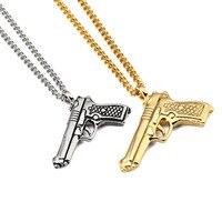 새로운 높은 품질의 기계 총 권총 소총 펜던트 목걸이 힙합 스타일 육군 매력 남성 여성의 랩퍼 보석 선물