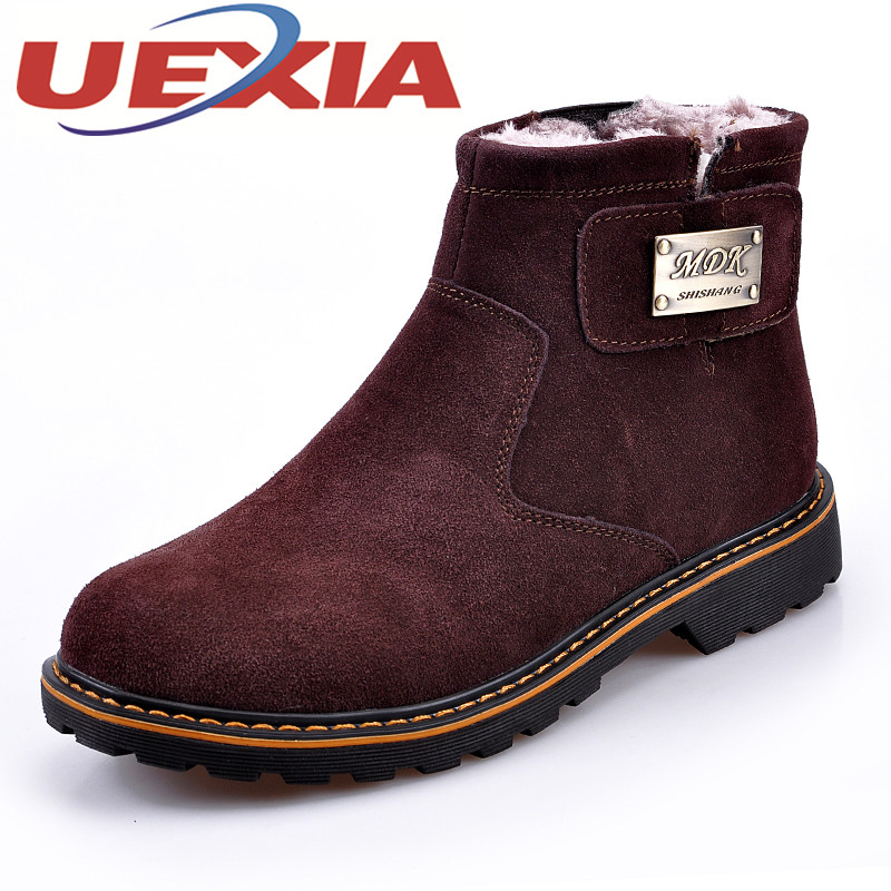 Fashion Suede Leather Snow Boots Men Winter Warm Shoes Plush Timber Boots Mens Outdoor Casual Ankle Platform Boots Work Shoes new casual mens cheap winter shoes keep warm with fur outdoor male snow shoes plush boots fashion men s suede leather sneakers