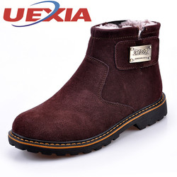 Fashion Suede Leather Snow Boots Men Winter Warm Shoes Plush Timber Boots Mens Outdoor Casual Ankle Platform Boots Work Shoes