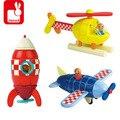 Janod Madeira Magnetic Combined Blocos Criança Eduacational Brinquedo Avião/Foguete/Helicóptero 3 Tipo Para Escolher Blocos Toy Vehicle presente