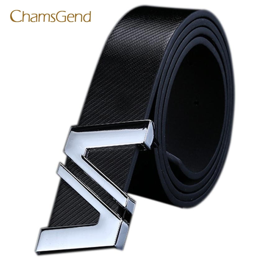 Chamsgend New Fashion Men Women Automatic Letter Buckle Leather Waist Strap   Belts   May12