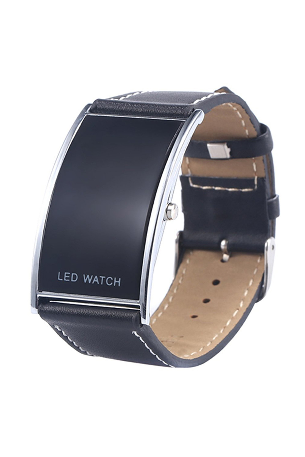 Man And Woman Arcuate LED Digital Date Fake Leather Strap Trendy Watch Black