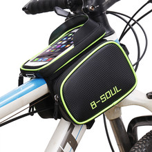 B-SOUL Bicycle Front Touch Screen Phone Bag On The Frame Mountain Bike Top Tube Bag Cycle Panniers Bag For Bicycle Accessories(China)