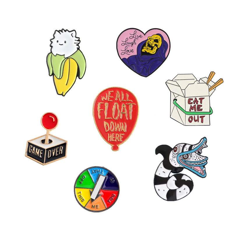 Brooch and Pin Beelejuice Cat Death Heart Balloon Game Turntable Console Gamepad Food box Enamel Pin Badge Brooch Collection 1
