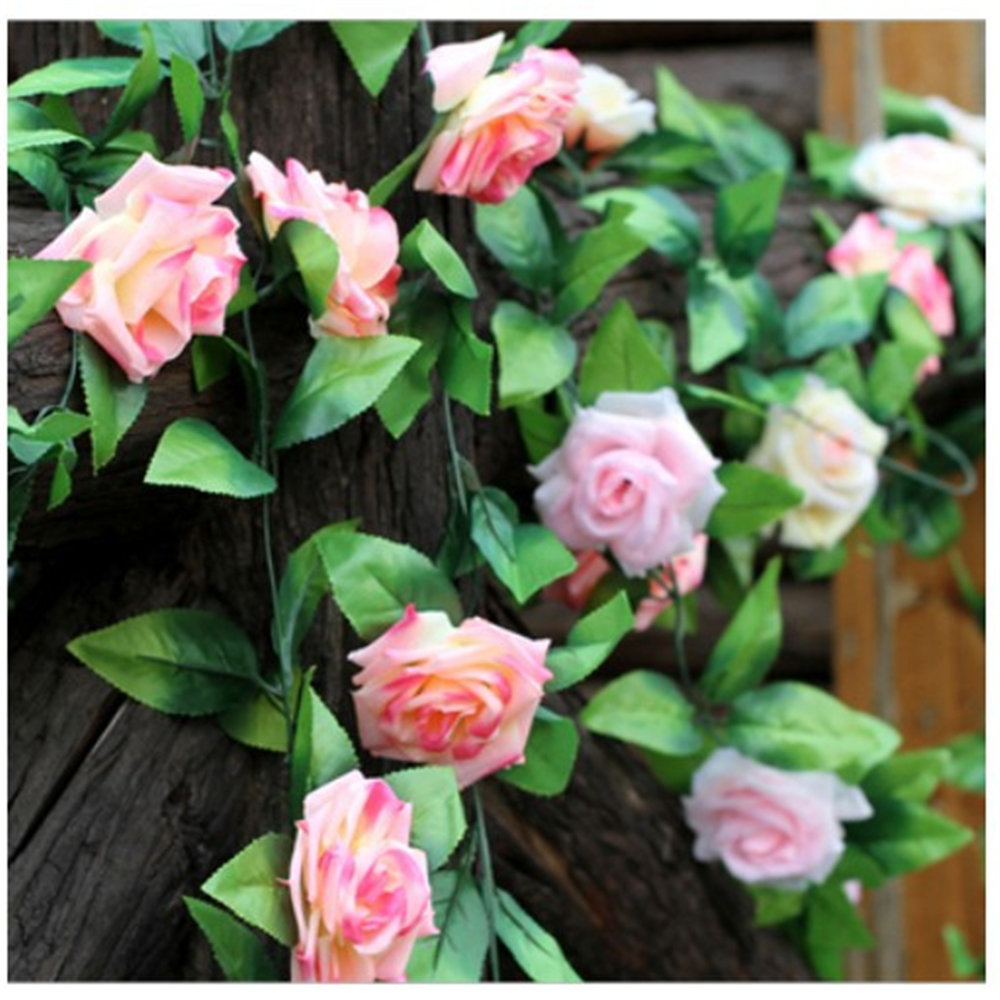 (10 pcs/lot)240CM Wholesale simulation rose artificial flowers silk air-conditioning pipe decorative rattan wedding rattan vines