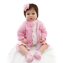 NPK 55cm Reborn Baby Dolls Cloth Body With Teddy Bear Plush Doll Toys Child Gift Soft Silicone Doll With Clothes Imitation Baby(China)