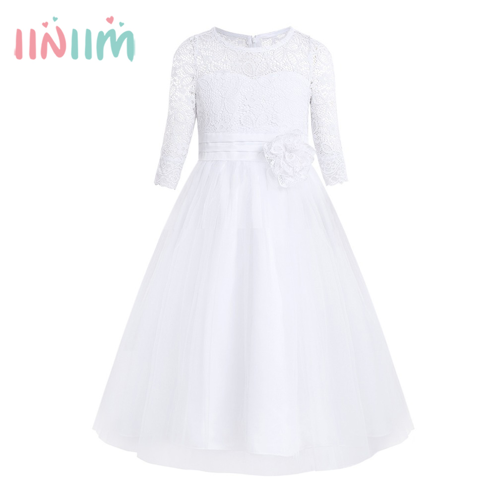 Hot Girls Lace Half Sleeves Ball Gown Prom Princess Pageant Wedding Birthday Party Dresses Children's First Communion Tutu Dress girls lace mesh half sleeves dress for princess pageant wedding bridesmaid birthday formal party