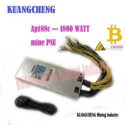 KUANGCHENG Ap188c s9/S7/S5/S4/S4 + 12 V voeding 1800 w AP188c PSU serie met 10 PCS 6pin PSU voor Antminer L3 + S9 BITMAIN