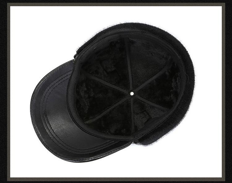 Leather hat sheep skin cap (18)