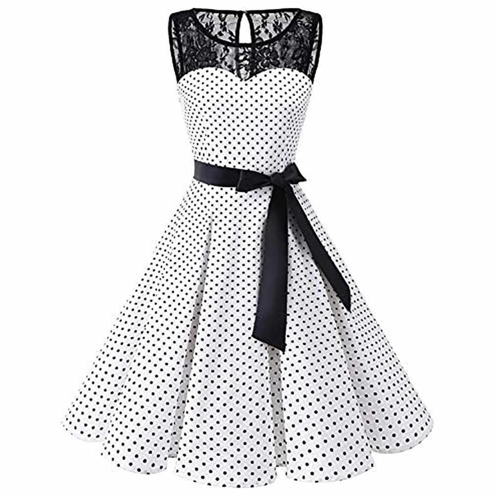 Slaper #401 2018 Vrouwen Mouwloze Polka Dot Kant Hepburn Vintage Swing Hoge Taille Geplooide Jurk Solid Ontwerp Hot drop Shipping