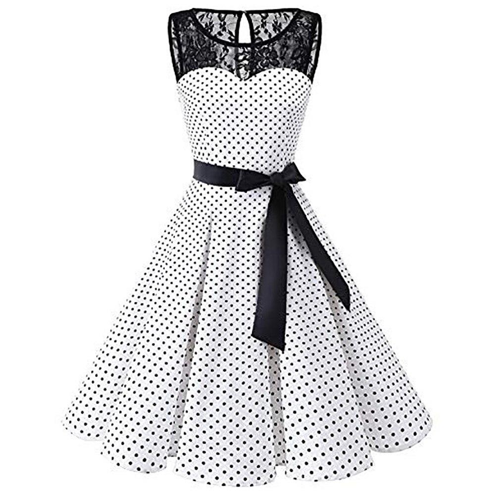 Sleeper #401 2018 Women Sleeveless Polka Dot Lace Hepburn Vintage Swing High-Waist Pleated Dress Solid Design Hot Drop Shipping