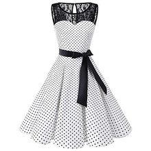 4e750001f8d Dormeur  401 2018 femmes sans manches à pois dentelle Hepburn Vintage Swing  taille haute plissée robe solide design livraison di.