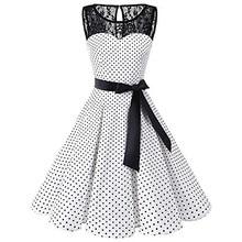Sleeper #401 2018 mujeres sin mangas de lunares de encaje Hepburn Vintage Swing de alta Vestido de cintura plisada de diseño sólido caliente Drop Shipping