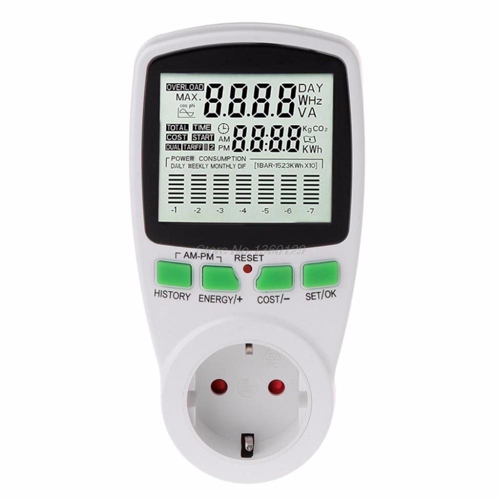 AC Power Meters 220v digital wattmeter eu energy meter watt monitor electricity cost diagram Measuring socket analyzer AUG_22