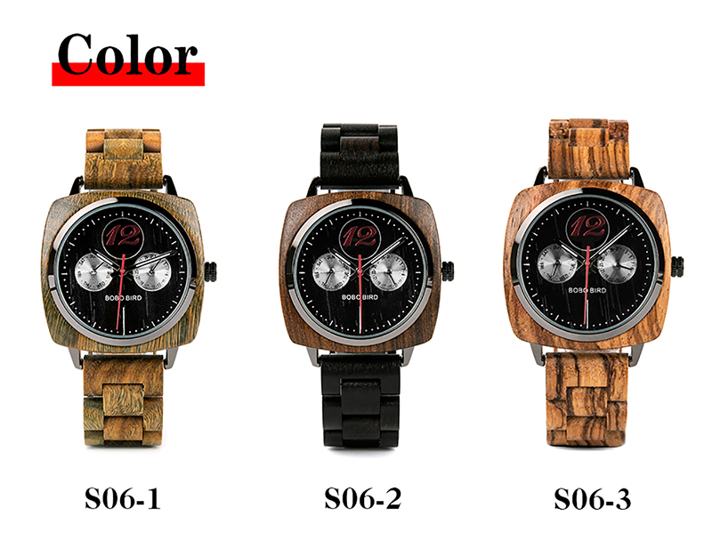New Design! Luxury & Classic Wood Watch For Men W/Date Display & Gift Wood Box 8