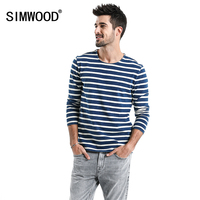 SIMWOOD 2018 Spring Striped T Shirts Men Long Sleeve O Neck 100 Cotton Tops Male High