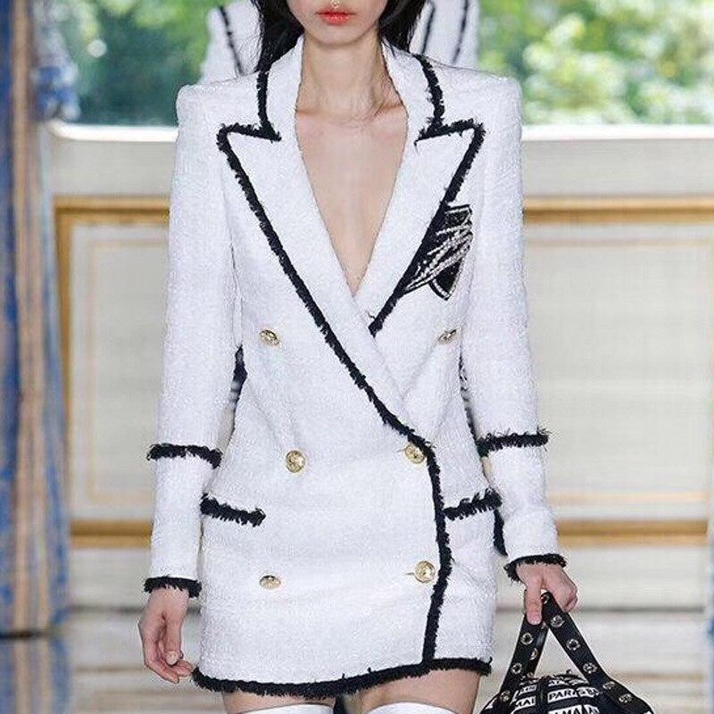1 2018 De Turn Automne Bride Veste down Manteau Marque Lady Col Double Femme Luxe Boutonnage Office Strass Badge Hiver Mode CCPH5r