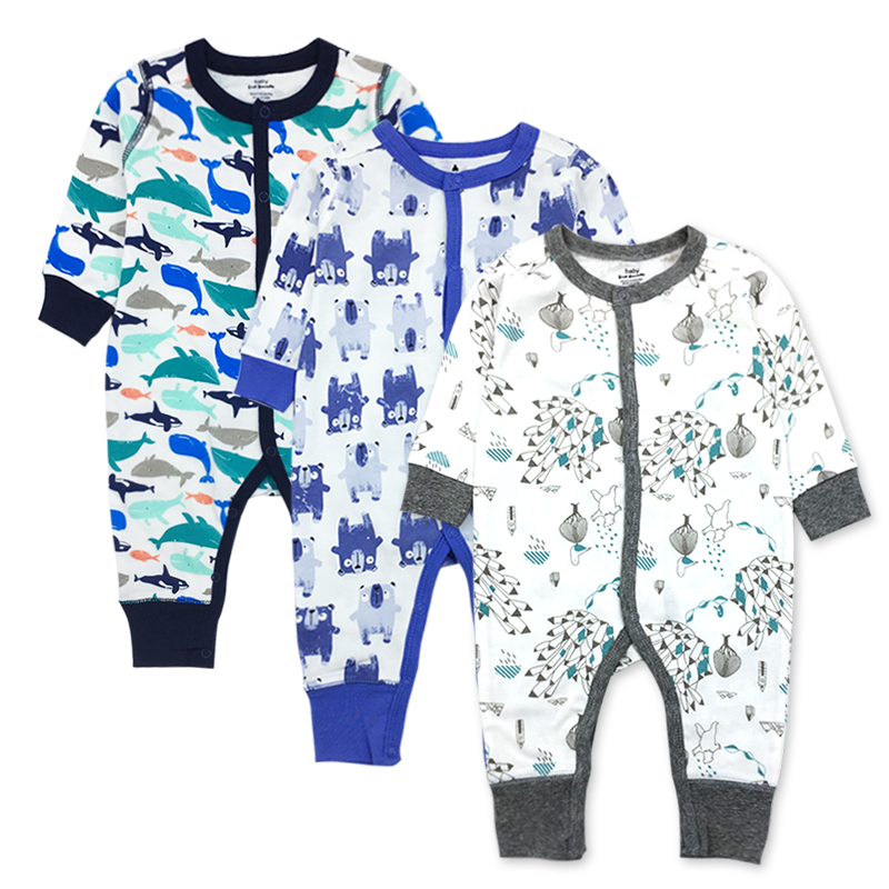 Newborn Toddler Infant Baby Girls Boys Clothes 3 Pack Long Sleeve 100%cotton Cute Cartoon Print Winter Baby Romper girls eyes print romper