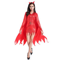Sexy Women S Burning Desire Devil Costume Shiny Metallic Red Demon Queen Fancy Dress Satan Outfit