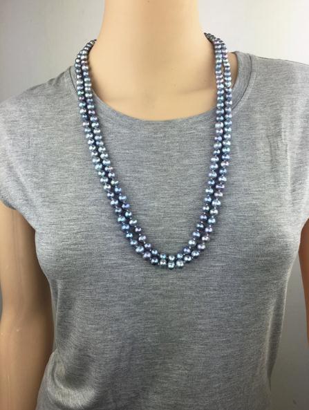 100% bijoux en perles réelles, couleur grise AA 6-7 MM 60 pouces de Long collier de perles d'eau douce naturelles nouveau livraison gratuite