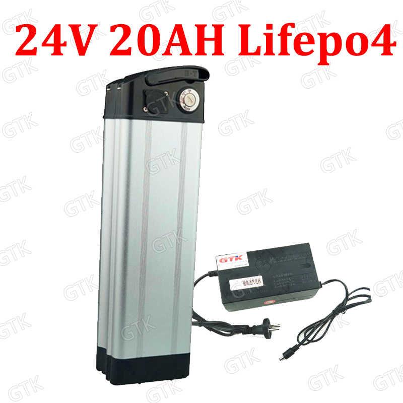Model opony GTK 24 V 20AH Lifepo4 akumulator 24 V srebrny ryby akumulator bateria + BMS dla 24 V 250 W 400 W rower skuter ebike motorower + ładowarka
