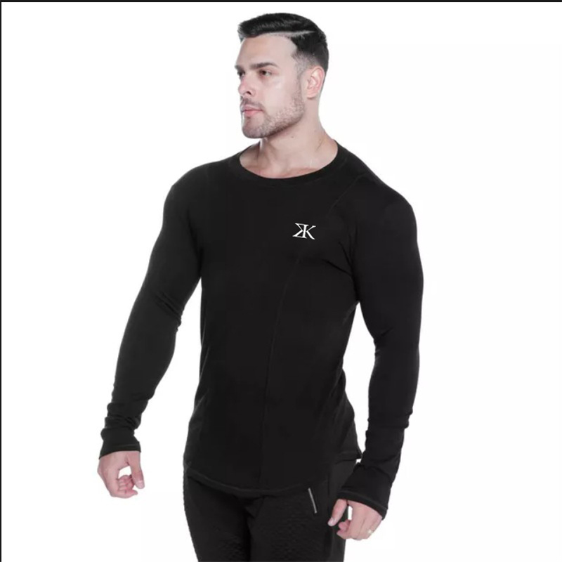 2018 New Men Long sleeves Elasticity Tight t shirts muscle Man Gyms Fitness Bodybuilding Jogger Brand clothing Plus size M-XXXL 5