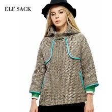 ELF SACK Women Winter Woolen Outerwear With Hood 2015 New Fashion Brand Feminino Wool Coat Free Shipping