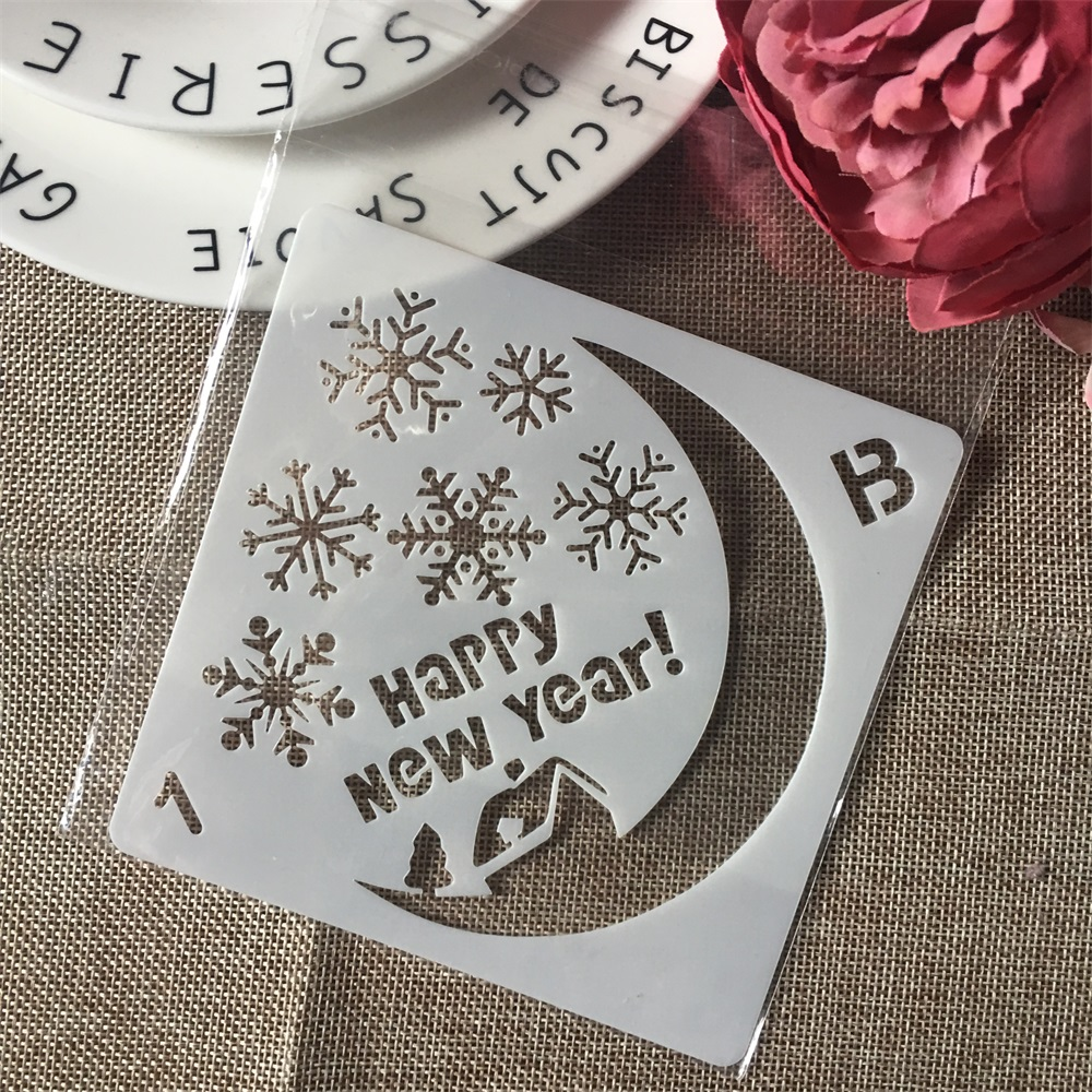 1Pcs 5inch Christmas Moon DIY Layering Stencils Wall Painting Scrapbook Coloring Embossing Album Decorative Paper Card Template