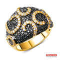 (DC1989)  Black Gold Plated White & Jet Color Dome Shape Women Party Rings Synthetic Cubic Zirconia Paved Copper Rings Lead Free