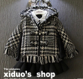 Winter New Girl Child Upset Tide Model of Hooded Cloak Plover Lattice Tassel zipper Coat