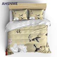 AHSNME Elegant Lotus Bedding Sets Chinese Painting Duvet Cover Pillowcase 2/3pcs Bed Set Flower Bedlinen Queen King Size