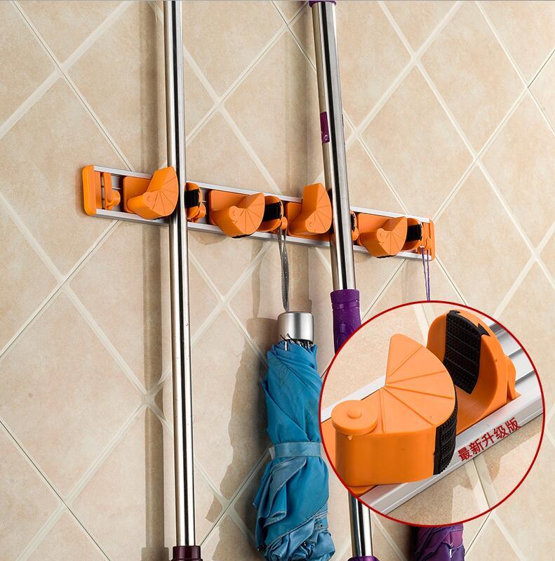 Bathroom Hardware Vidricshelves Wall Mount Plastic 5 Hang 6 Hooks Mop Shelf Balcony Broom Rack Washroom Multi-functional Storage Holder Wf-2562