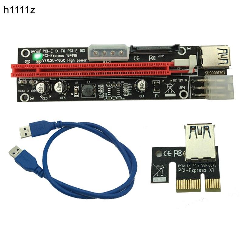 все цены на 100pcs PCI-E PCI E Express 1X to 16X Riser Extender Card SATA 15 Pin 6 Pin 4 PIN 3 Power Supply LED light display For mining онлайн