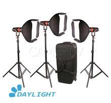 3 pces CAME TV Q 55W boltzen 55w mark ii alta saída fresnel focalizável led luz do dia pacote de vídeo led