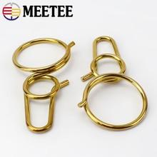 Meetee Pure Solid Brass Keychain Belt Hook Buckle Handmade Men Women Key Ring DIY Leather Craft Bag Hardware Accessory EDC Tool