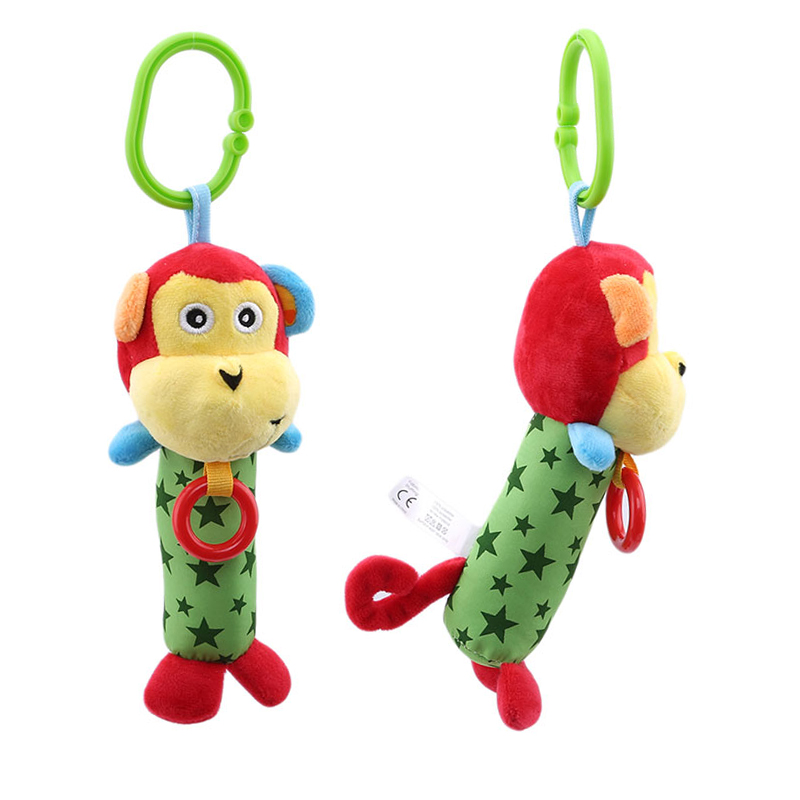 Baby Cartoon Monkey Rattles Toys Pacify Doll Plush Rattles Popular Toys For Baby Creative Cute Hand Bells Strollers For Dolls
