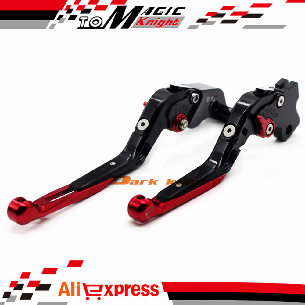 ФОТО For DUCATI HYPERMOTARD 821 SP 2013-2014 Motorcycle CNC Billet Aluminum Folding Extendable Brake Clutch Levers Black+Red