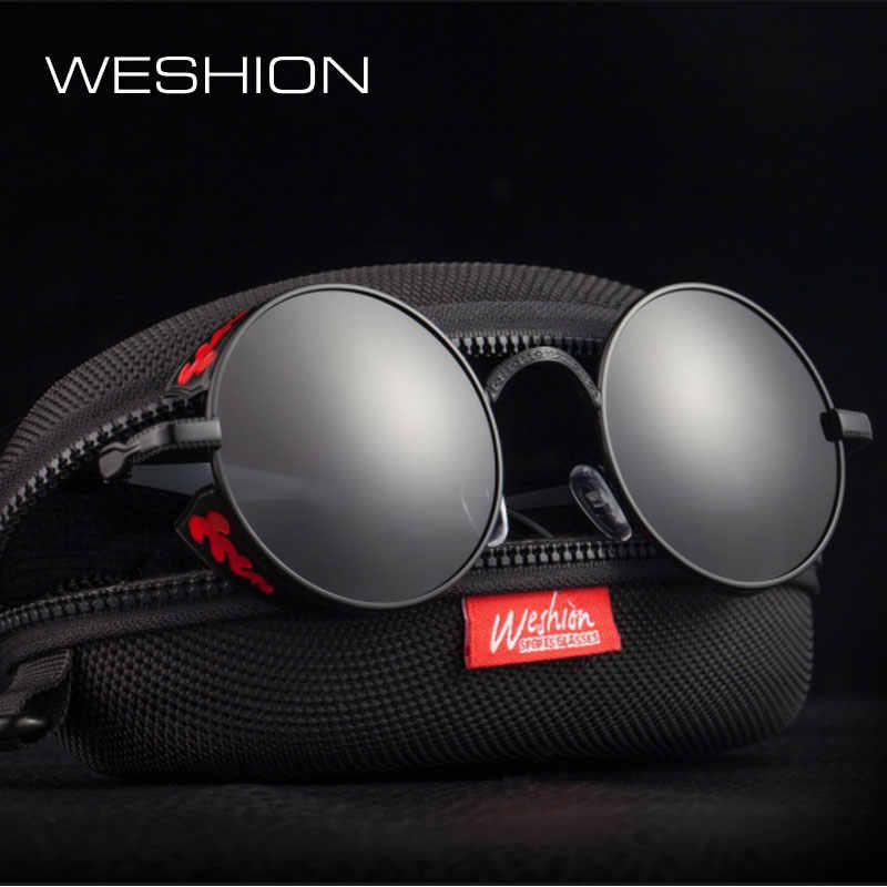 497d2adcb687 Стимпанк очки Для мужчин очки поляризованные Для женщин круглый Steam Punk солнцезащитные  очки Polaroid Готический очки