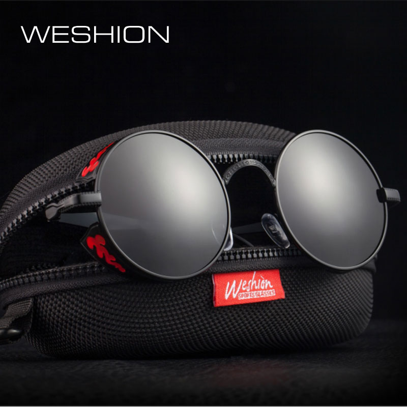 Coating Mirror Polarized Men Women Steampunk Sunglasses Gothic Eyewear Silver Golden Metal Frame High Quality UV400 Deal With It reflection