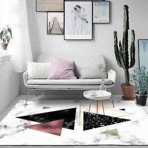 Image 3 - Nordic imitation white black marble geometry Navy blue door mat bedroom plush rug living room non slip bedside carpet customize