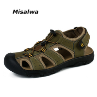 Misalwa 2018 Hot Sale Genuine Leather Breathable Men Casual Sandals New Fashion Men Beach Sandals Plus Size 38 47