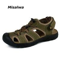 Misalwa 2018 Hot Sale Genuine Leather Breathable Men Casual Sandals New Fashion Men Beach Sandals Plus Size 38 47