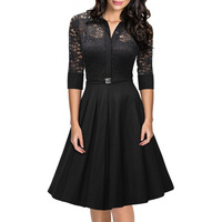 Sexy Women A Line High Collar Tea Length Tulle Appliques Casual Lace Dress