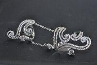 HIBRIDE Marka Kadınlar Nişan Yüzüğü Ile Iki Yüzük Zincir Temizle Kübik Zirkon Parmak Yüzük Bague Femme R-186