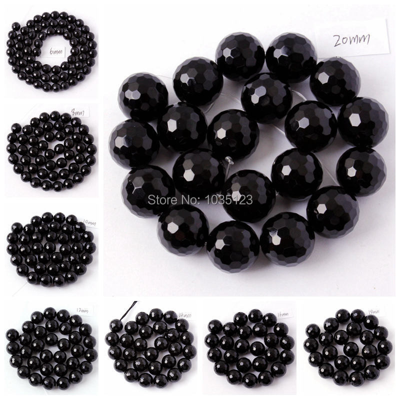 "Free Shipping 6.8.10.12.14.16.18mm Faceted Round Shape Black Agates Onyx Gems Loose Beads Strand 15"" DIY Jewellery Making wj54"