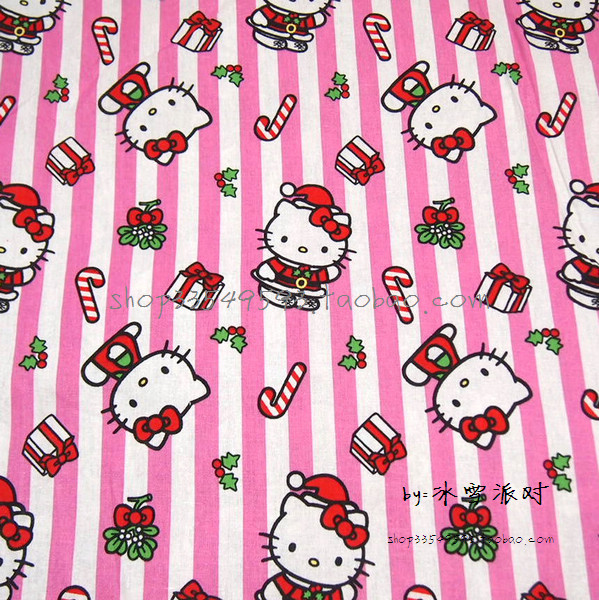 e1718d7fd 105X100cm Hello Kitty Christmas Pink White Stripes Christmas Gifts Cotton  Fabric for Baby Girl Christmas Decoration DIY AFCK626-in Fabric from Home &  Garden ...