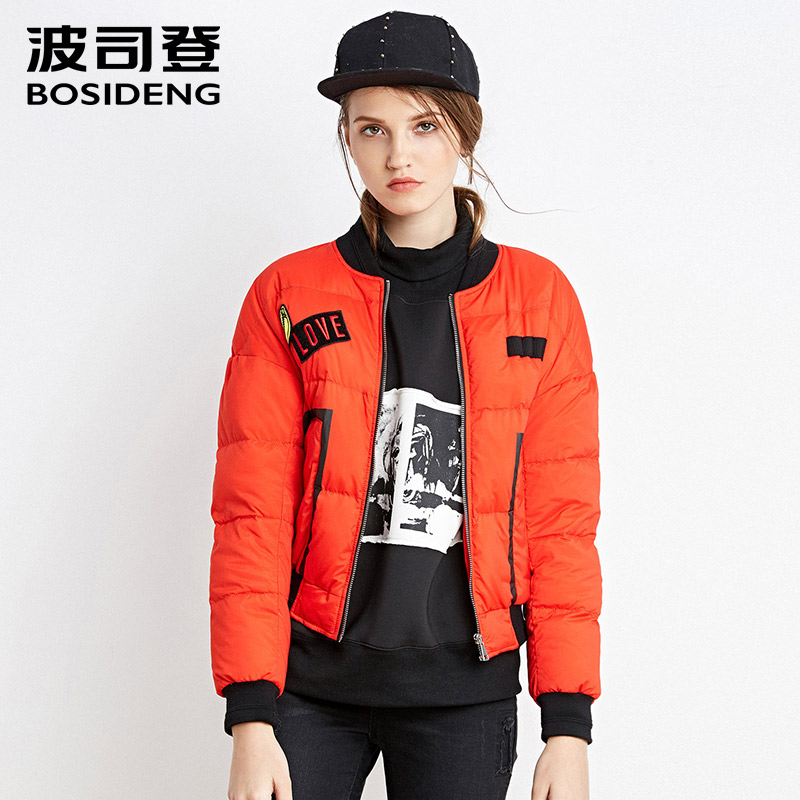BOSIDENG new women winter short down jacket duck down coat short parka thick warm high quality appliques fashion B1601100