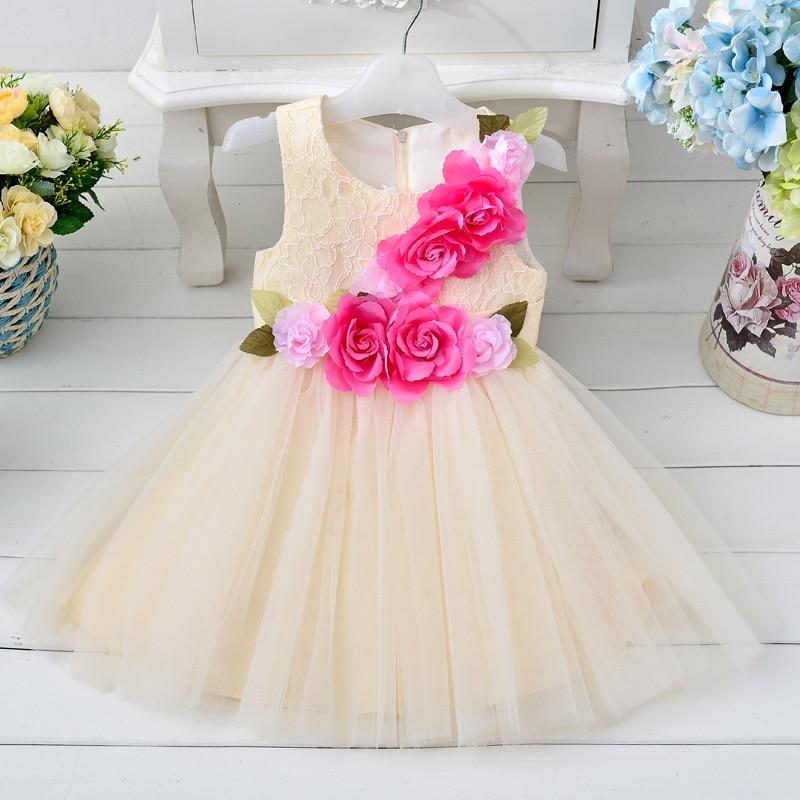 ФОТО new summer style girls dresses summer 2017 big flower lace lovely girl wedding dress Bow princess dress Performances clothing