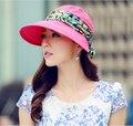 2016 горячие продажа Мода Защита Лица Вс Шляпа Летние Шляпы для Женщин Складная Анти-Уф Широкий Большой Брим Регулируемые Женщины Hat летом