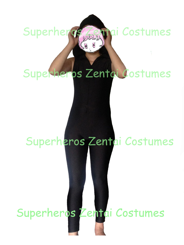 Custom Made Sexy Black Zentai Suit with Hoodie Lycra Spandex Bodysuit Sleeveless Female Suit with Front Zipper No Feet